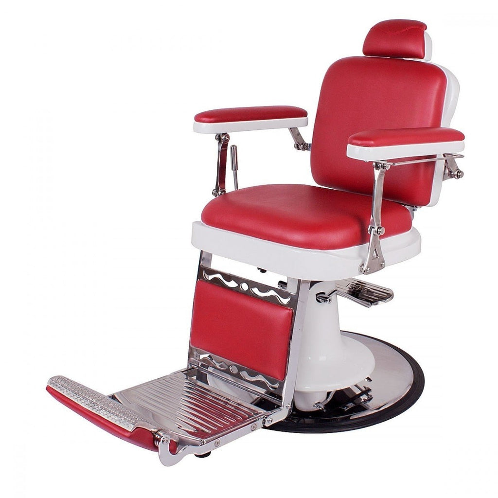 MAESTRO Vintage Barbershop Chair Cardinal Red AGS Beauty - Barber Chairs