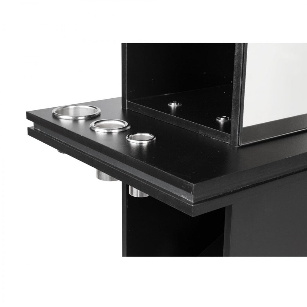 Malta Double Sided Salon Station Matte Black AGS Beauty - Styling Stations