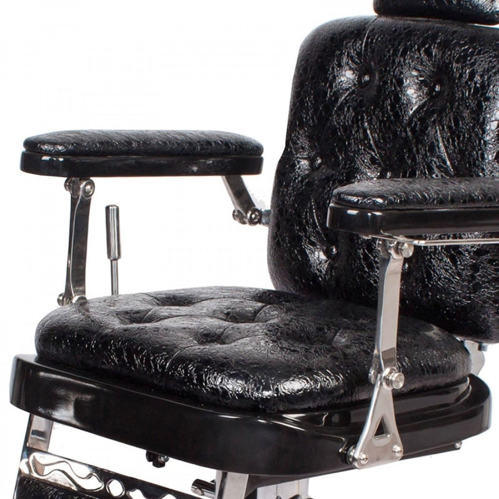 Regent Barber Shop Chair Patent Black Crocodile AGS Beauty - Barber Chairs