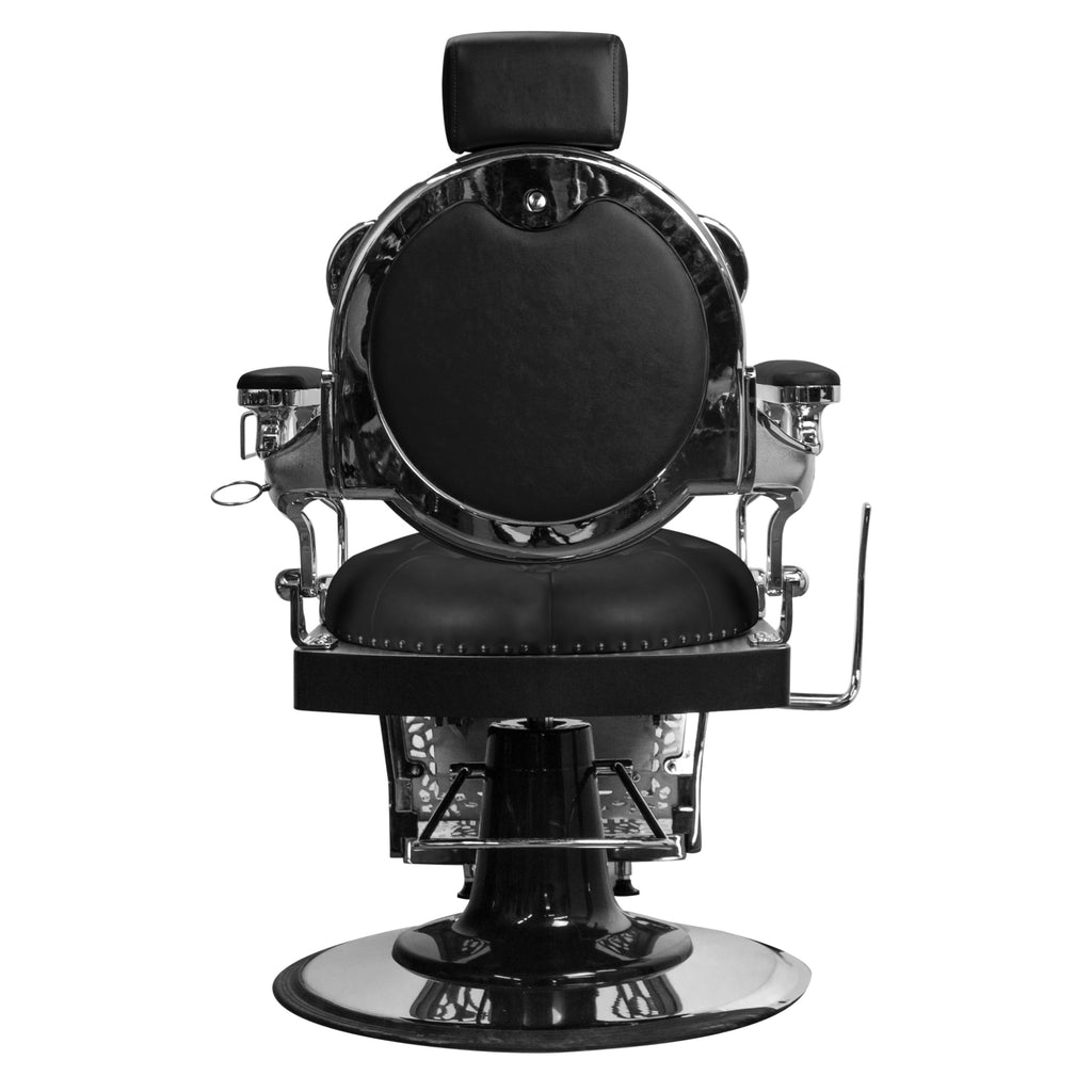 Rutherford Barber Chair Black/Chrome Deco Salon - Barber Chairs
