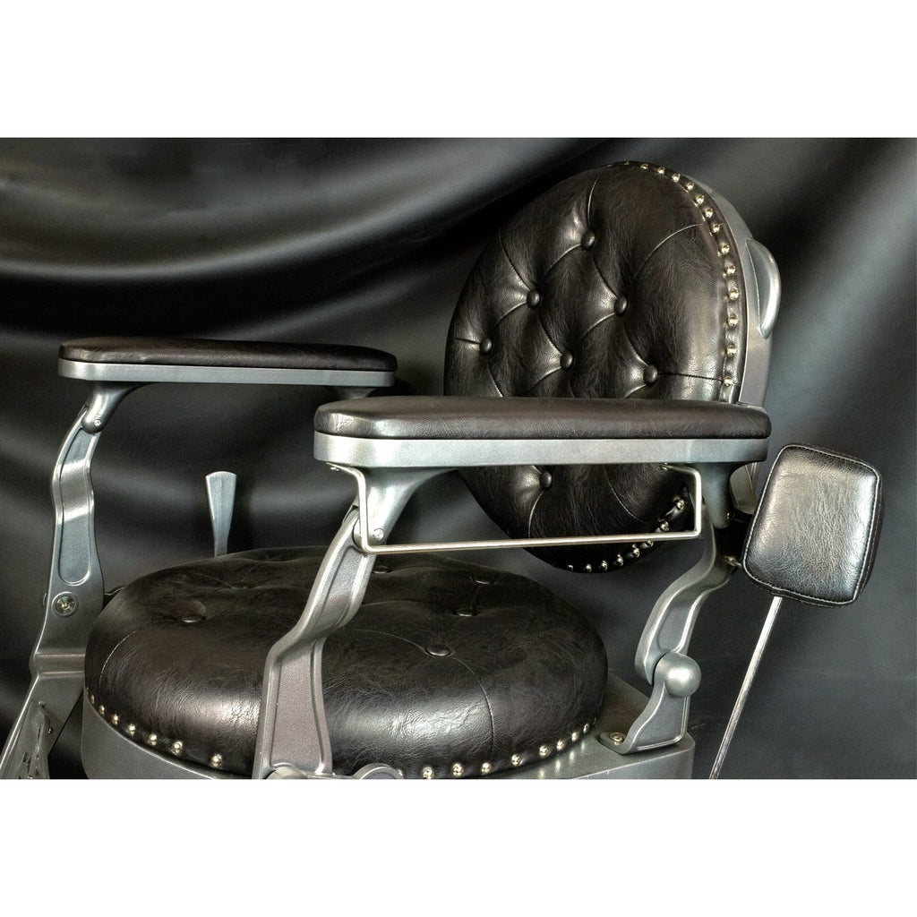 Rutherford Barber Chair Black/Gray Deco Salon - Barber Chairs