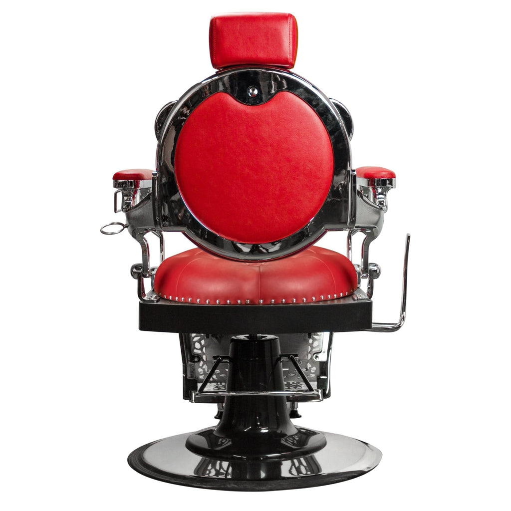 Rutherford Barber Chair Red/Chrome Deco Salon - Barber Chairs