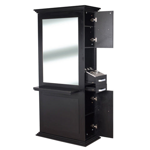 Siena Double Sided Salon Station Matte Black AGS Beauty - Styling Stations