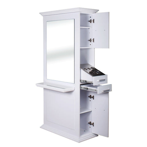 Siena Double Sided Salon Station White AGS Beauty - Styling Stations