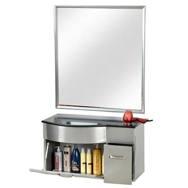 Stainless Steel Styling Station with Mirror PB52B Pibbs - Styling Stations