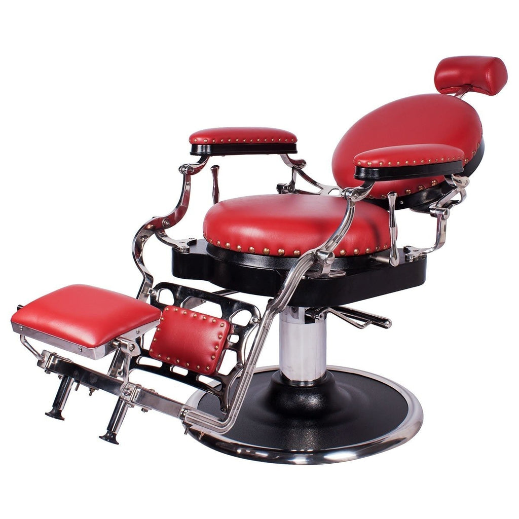 Zeno Antique Barber Chair Cardinal Red AGS Beauty - Barber Chairs