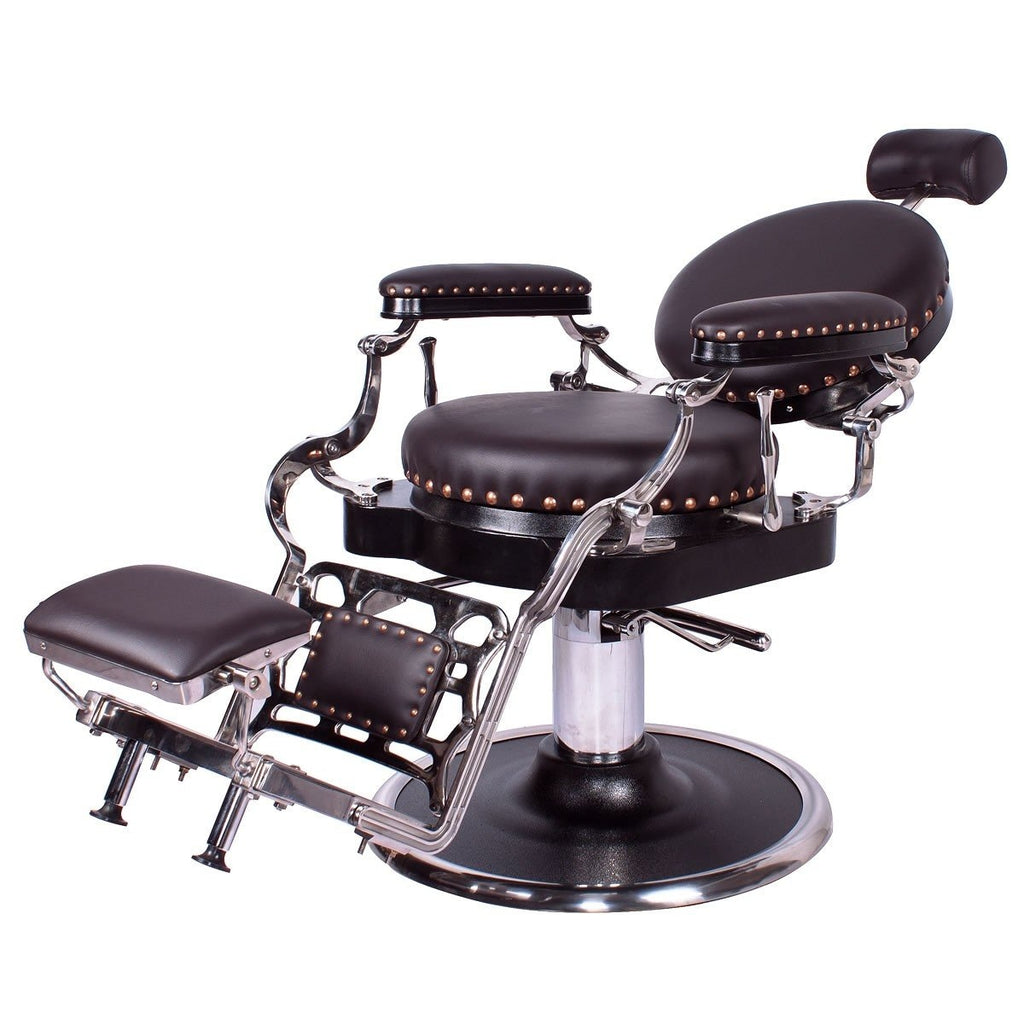 Zeno Antique Barber Chair Soft Chocolate Brown AGS Beauty - Barber Chairs