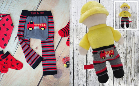 Fireman baby leggings and rattle