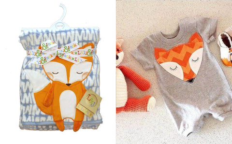 Fox baby gift set romper and blanket