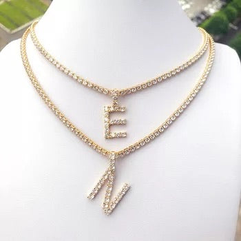 Tennis Chain Initial Necklace Set