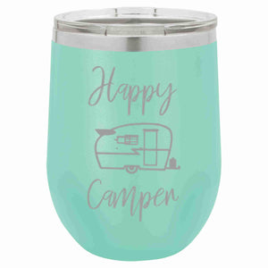 """Happy Camper"" 12 oz Wine Mug - Driftless Studios"