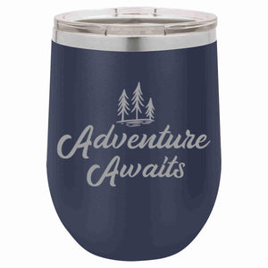"""Adventure Awaits"" 12 oz Wine Mug - Driftless Studios"