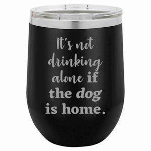 """Drinking Alone"" 16 oz Wine Mug"