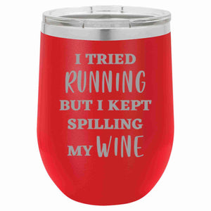 """I Tried Running"" 16 oz Wine Mug"