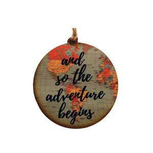 """And So The Adventure Begins"" World Map Christmas Ornament - WW016 - Driftless Studios"