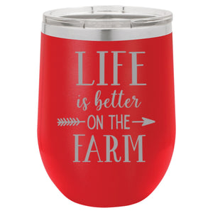 """Life Farm"" 16 oz Wine Mug - Driftless Studios"