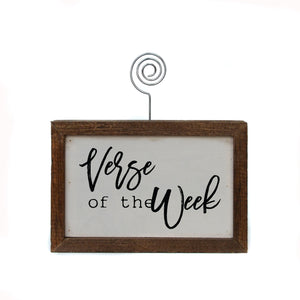 """Verse Of The Week"" Wood Sign w/Wire Picture Holder - AW005 - Driftless Studios"