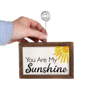 """Sunshine"" Wood Sign w/Wire Picture Holder - AW015 - Driftless Studios"