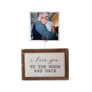 """I Love You"" Wood Sign w/Wire Picture Holder - AW017 - Driftless Studios"