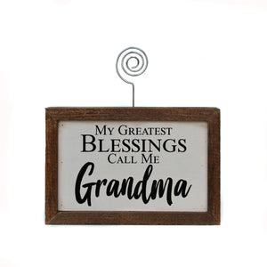 """Greatest Blessings Grandma"" Wood Sign w/Wire Picture Holder - AW019 - Driftless Studios"