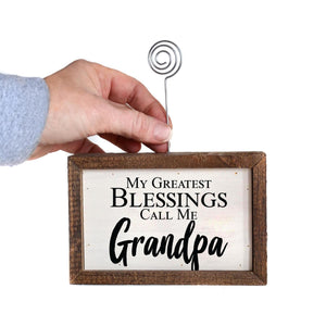 """Greatest Blessings Grandpa"" Wood Sign w/Wire Picture Holder - AW020 - Driftless Studios"