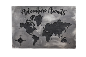 """Adventure Awaits"" Carved World Map Sign - Driftless Studios"