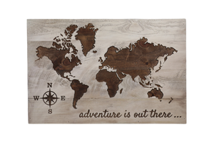 """Adventure is Out There"" Carved World Map Sign - Driftless Studios"
