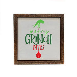 """Merry Grinch Mas"" 6x6 Christmas Sign Wall Art Sign- BW051"