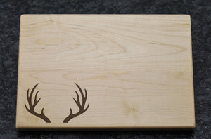 Personalized Cutting Board - Antlers Design - Driftless Studios