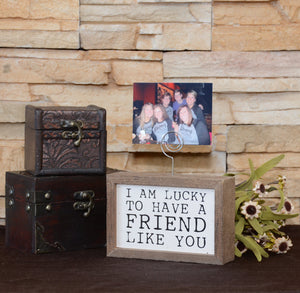 """Friend Like You"" Wood Sign w/Wire Picture Holder - AW009 - Driftless Studios"