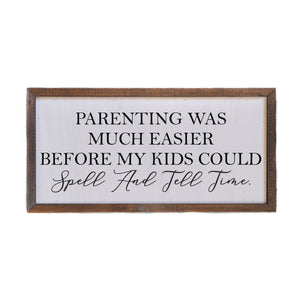 """Spell and Tell Time"" 12x6 Wall Art Sign - DW005 - Driftless Studios"