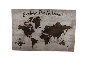 """Explore the Unknown"" Carved World Map Sign - Driftless Studios"