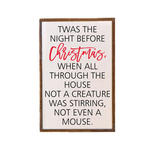 """Twas The Night Before Christmas"" 12x18 Wall Art Sign - GW026"