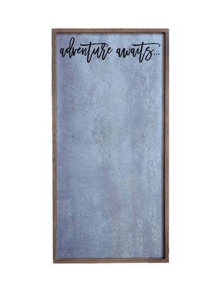 """Adventure Awaits"" 12x24 Metal Sign & Magnet Board - HG016 - Driftless Studios"