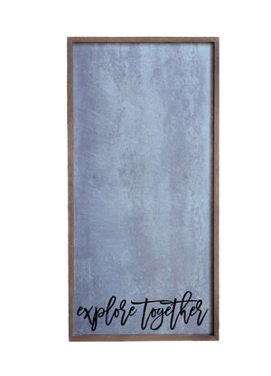 """Explore Together"" 12x24 Vertical Metal Sign & Magnet Board - HG017 - Driftless Studios"