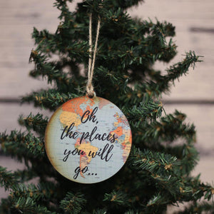 """Oh, The Places You Will Go..."" World Map Christmas Ornament - WW019 - Driftless Studios"