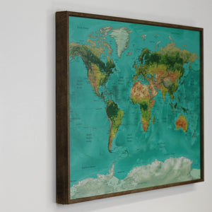 36x24 - Geographical Teal Natural Earth World Map - Travel Map - UM002 - Driftless Studios