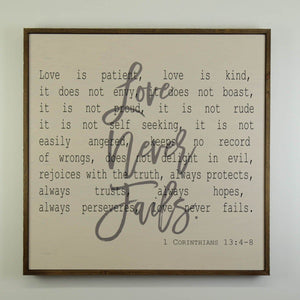 """Love Never Fails"" 24x24 Wall Art Sign - MW007 - Driftless Studios"