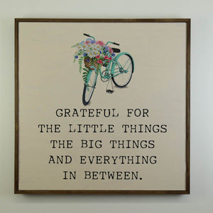 """Grateful with bike graphic"" 24x24 Wall Art Sign - MW004 - Driftless Studios"