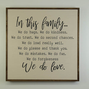 Family Rules Sign, 24x24 Wall Art Sign - MW001 - Driftless Studios