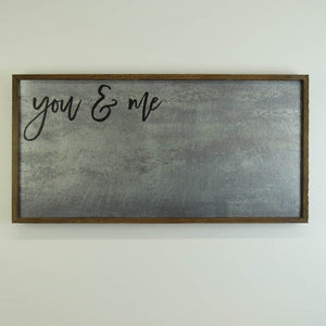 """you & me"" 12x24 Metal Sign & Magnet Board - HG005 - Driftless Studios"