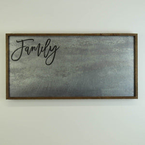 """Family"" 12x24 Metal Sign & Magnet Board - HG006 - Driftless Studios"