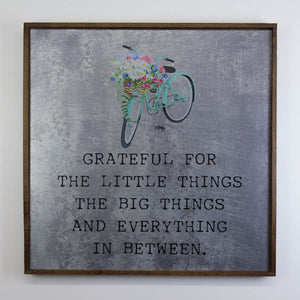 """Grateful with bike graphic"" 24x24 Wall Art Sign - MG004 - Driftless Studios"