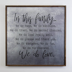 """Family Rules Sign"" 24x24 Wall Art Sign - MG001 - Driftless Studios"