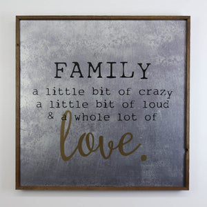 """Family Love"" 24x24 Wall Art Sign - MG002 - Driftless Studios"