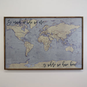 36x24 - Antique Tan World Map Push Pin - Travel Map - UM005 - Driftless Studios