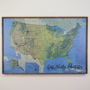 36x24 - Geographical National Parks Map - US Travel Map - UM007 - Driftless Studios