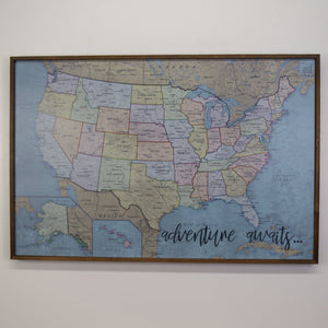 36x24 - Political Antique Color USA Map - US Travel Map - UM011 - Driftless Studios