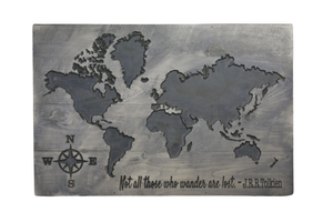 """Not All Who Wander are Lost"" Carved World Map Sign - Driftless Studios"