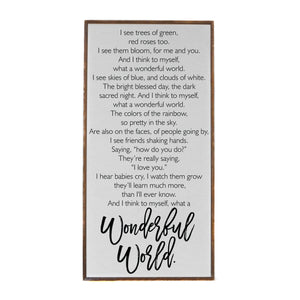"""White What A Wonderful World"" Vertical Wood Sign - PW002 - Driftless Studios"